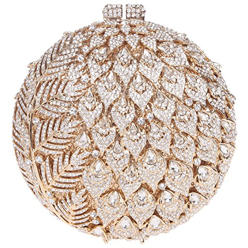 Fawziya Leaves With Flower Purse Women's Round Shape Rhinestone Clutch Evening Bag-Gold