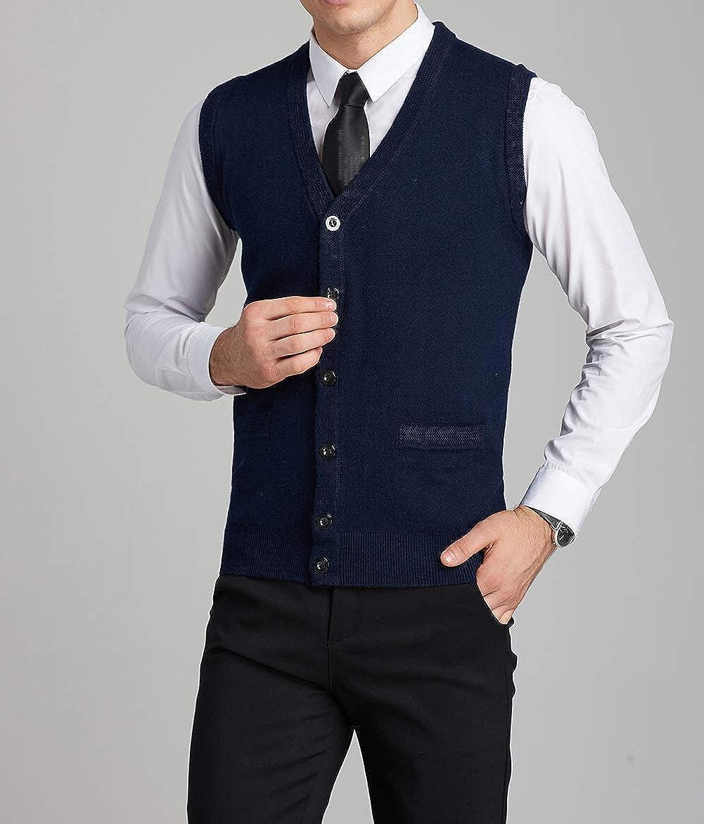 FULIER Gilet sans manches en laine col V en laine sans manche Gilet Classique Gentleman Tricots Cardigans Pull Tricot/é D/ébardeurs Avec Boutons Large, Bleu Marine