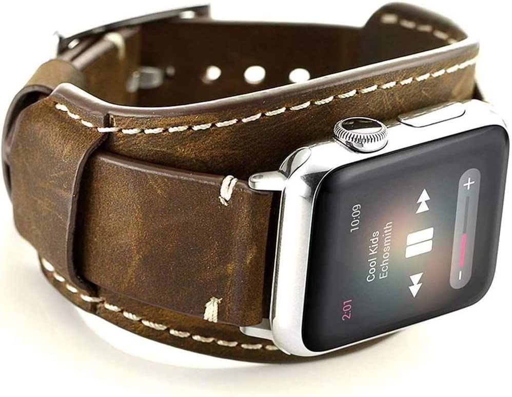 Sjiangqiao Compatible with Apple Watch Bands 44mm 42mm Genuine Leather Strap Cuff Wristbands for iWatch Band SE Series 6 5 4 3 2 1 Men Women Crazy Horse Leather Strap with Stainless Steel Metal Buckle(Coffee, 44/42mm)
