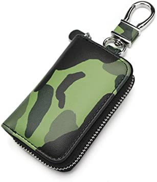 VSLIH Car Key Holder,Leather Car Smart Keychain Coin Case Metal Hook and Keyring Wallet Zipper Case for Auto Remote Key Fob-Green