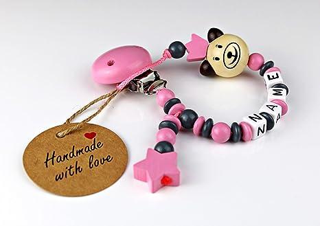 Baby Chupete Cadena con nombres para chica – Diseño 3d oso con grabado de nombres y