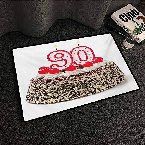 - Zzmdear 90th Birthday Modern Door mat Birthday Cake with Tasty Cherries Burning Candles and Number Ninety with Anti-Slip Support W35 xL47 Red Brown White