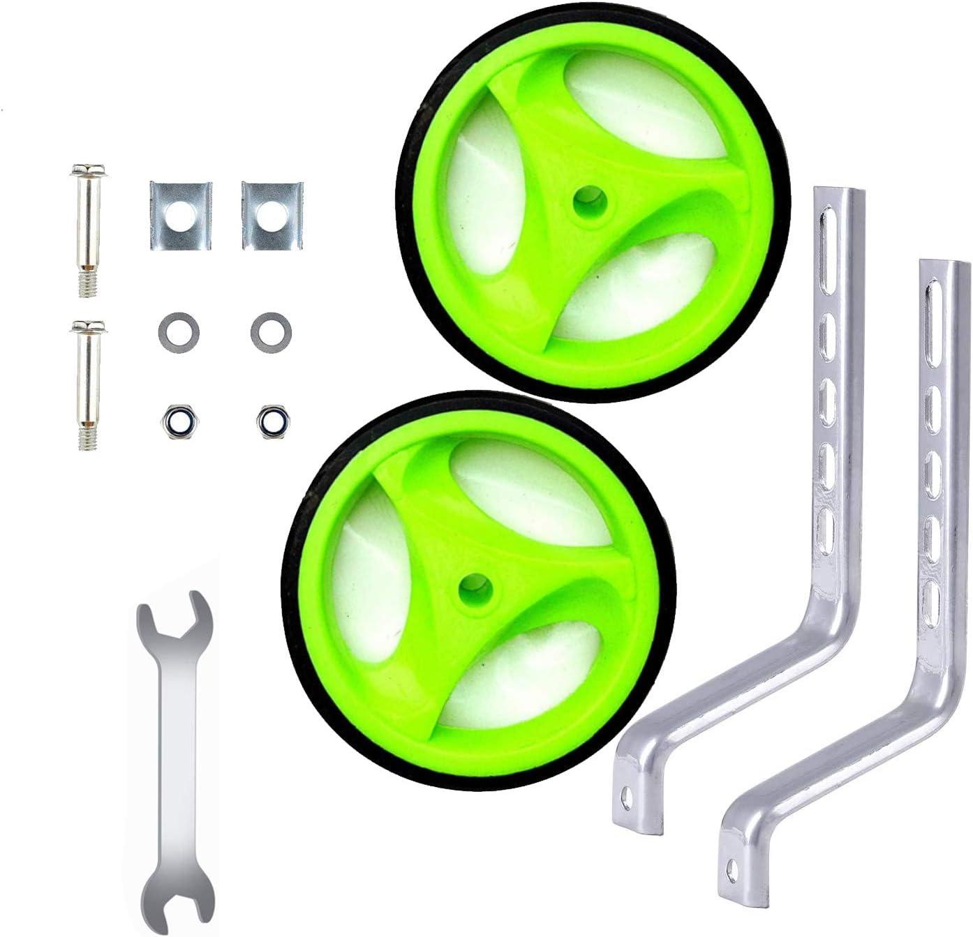 senza rumori 2 pezzi ruote in gomma in acciaio spesso spesso con accessori per bici da bambino Stabilizzatori per bicicletta regolabili da 30,5 a 50,8 cm per bambini EBTOOLS