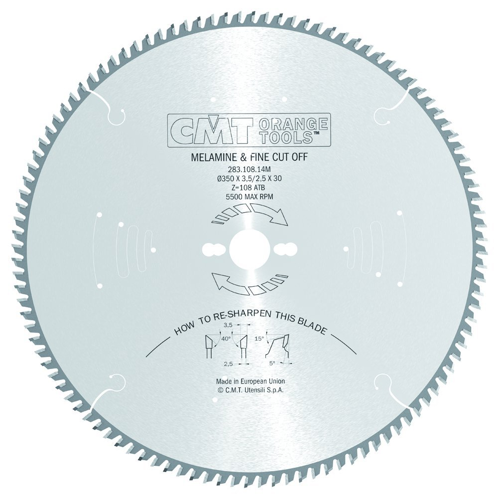 CMT 283.108.14M Industrial Melamine and Fine Cut-Off Saw Blade and  350mm 13-25/32-Inch by 108 Teeth 40-Degree ATB with 30mm Bore by CMT