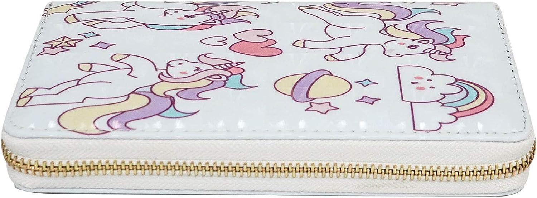 Women Wallet Cute Long Purse for Girls Zipper Around Unicorn Pattern