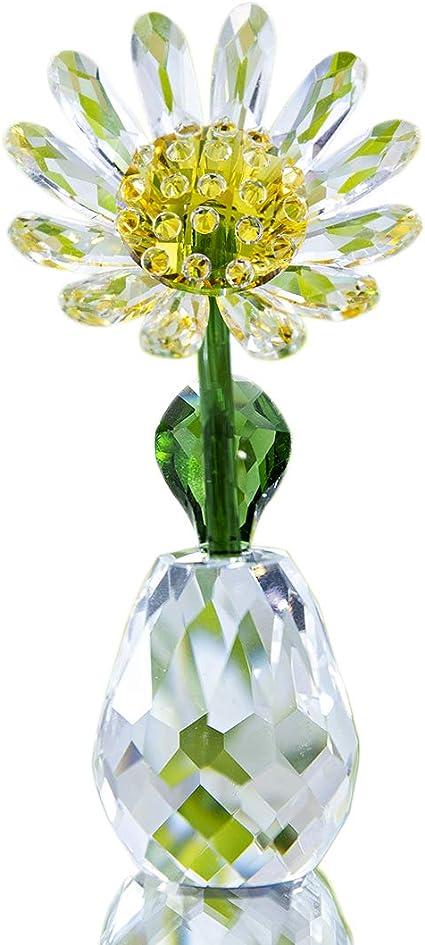 H/&D HYALINE /& DORA Glass Flower Vase Ornament Table Decor Crystal Pink Flower Vase Figurine Basket of Flowers Paperweight