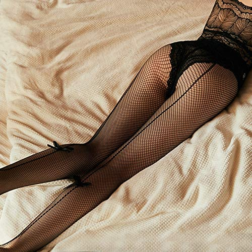 VicSec Ladies Seam Back Fishnet Tights with Ankle Bow Contrast Elegant Sheer Nude Stripy Line Pantyhose Bodytstocking
