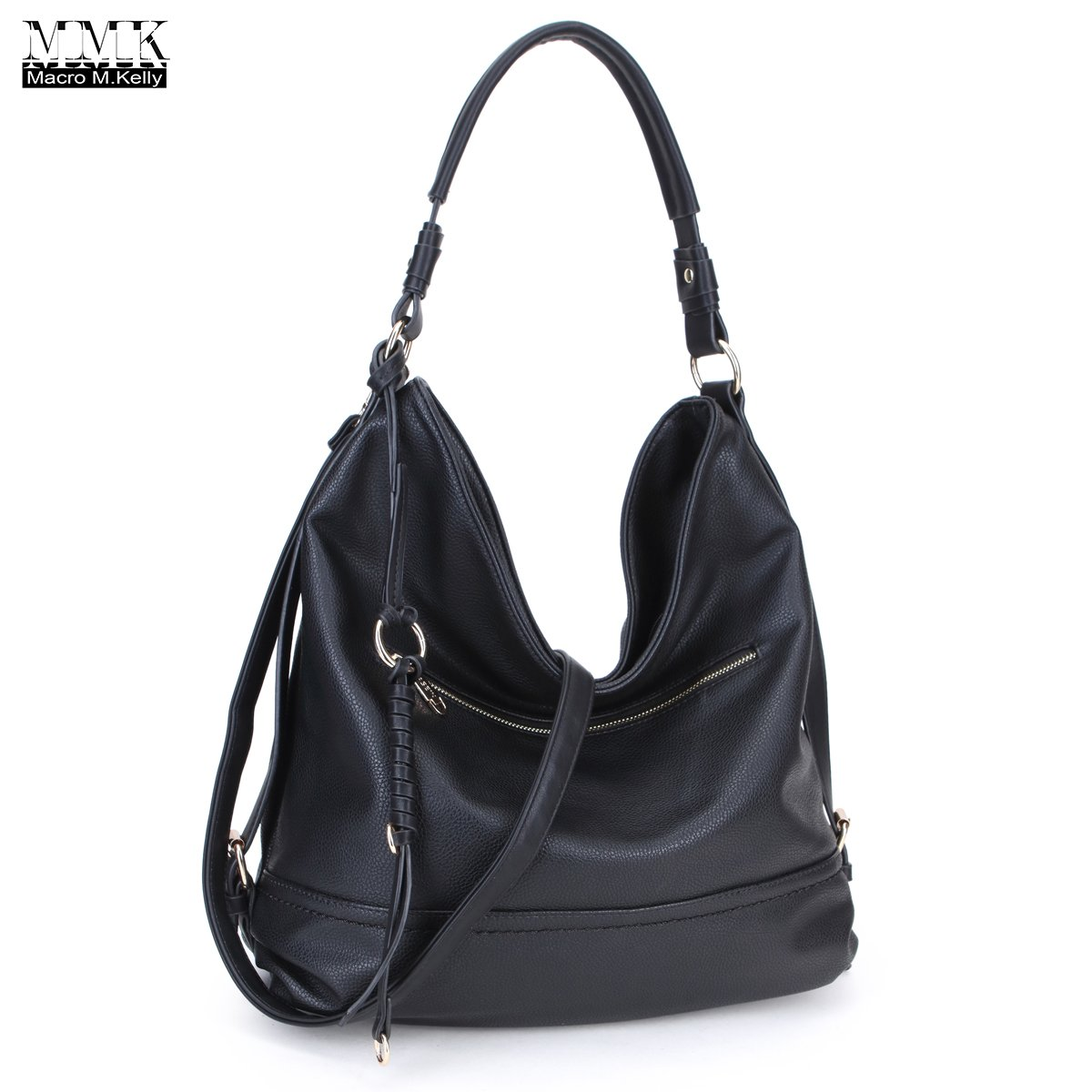 MMK Collection Women Soft Water Wash PU Leather Vintage(6332) Top Dual Handle Crossbody Fashion Cowboy Young Style Chained Hobo Shoulder Bag Handbag (MA-KK-13-3373-BK)