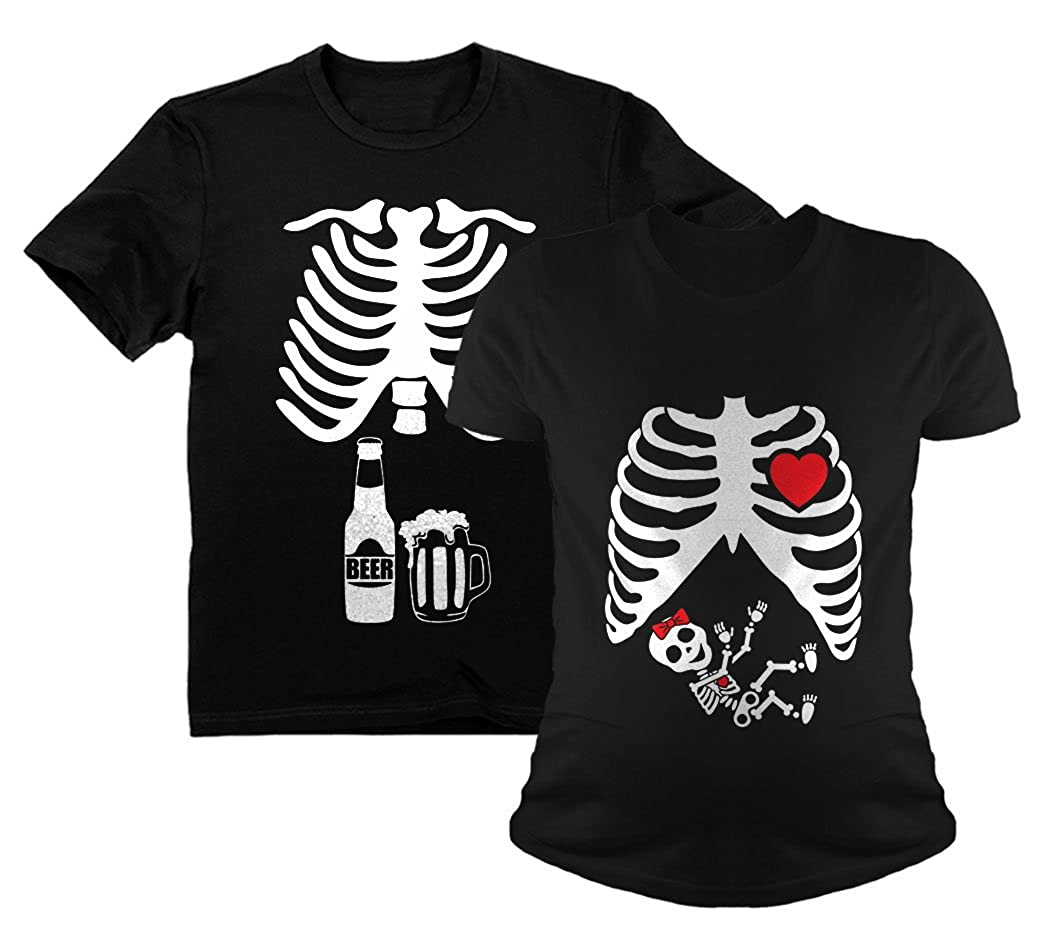 91440d827dcde Halloween Skeleton Maternity Shirt Baby Girl X-Ray Matching Couples Set  Beer Tee Dad Black XX-Large/Mom Black XX-Large at Amazon Women's Clothing  store: