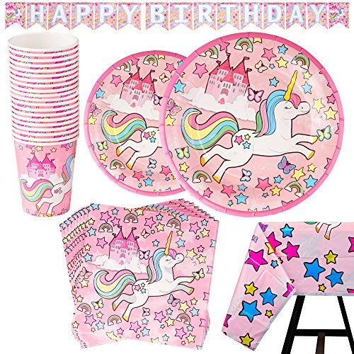 Find Bargain 82 Piece Unicorn Party Supplies Set Including Banner, Plates, Cups, Napkins and Tablecl...