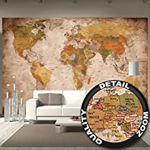World map photo wallpaper – vintage retro motif – XXL world map mural – wall decoration 132.3 Inch x 93.7 Inch