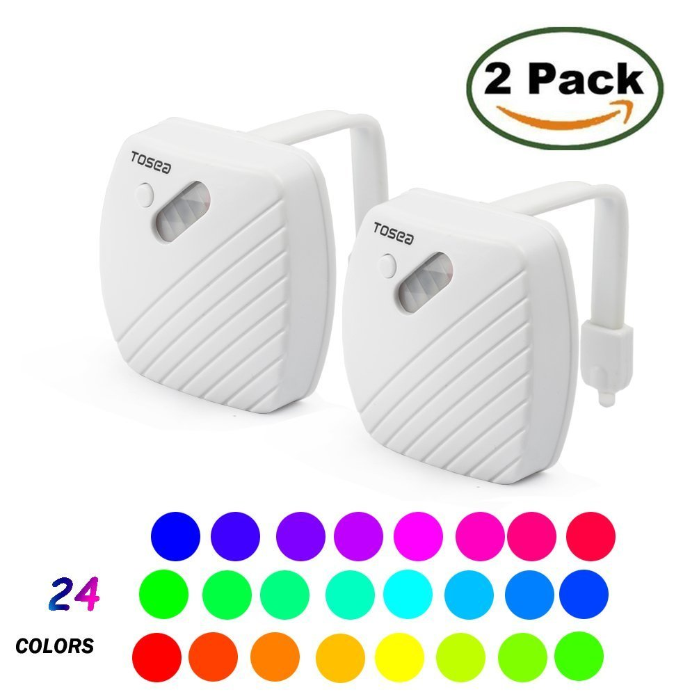 24-Color LED Toilet Bowl Night Light [2Pack] Motion Activated Sensor - Funny Unique Gadget for Mom, Her, Him, Men, Women or Birthday Kid - Cool New Fun Gift Idea, Best Gag Mother's Day Present