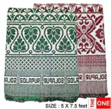TheOne - Solapur Chaddar Single (Cotton Blanket) : Pure cotton - (Green, Red, Set: 2 Nos)..