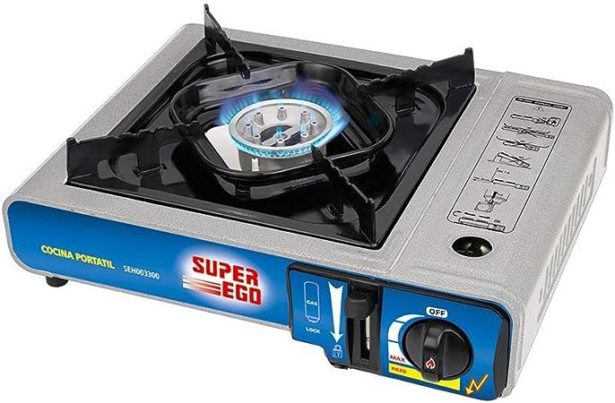 SUPER EGO SEH003300 Cocina cartucho gas portátil, Gris, 34x9x26 cm