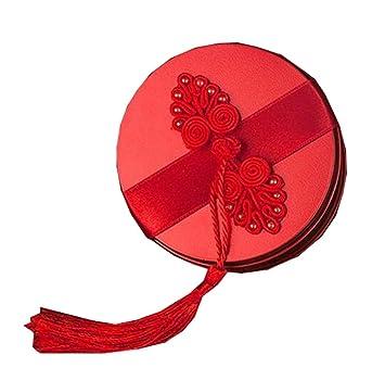 3PCS estilo chino caramelo de la boda Cajas Cajas de regalo latas de galletas de chocolate tarro 7.8x4.5CM(Rojo #07): Amazon.es: Hogar