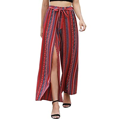 Womens Boho Stripe Hawaiian Wide Lounge Wide Leg Split Palazzo Culottes Pants: Clothing