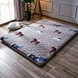 Yellow star Flannel tatami mattress, Futon mattress topper double mattress quilted foldable cushion mats non-slip bed protection pad floor mat-B 90x200cm(35x79inch)