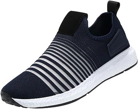 LuckyGirls Hombre Bambas Deportivas Rayas Zapatillas Calzado Running Zapatos Casual Sin Cordones: Amazon.es: Deportes y aire libre