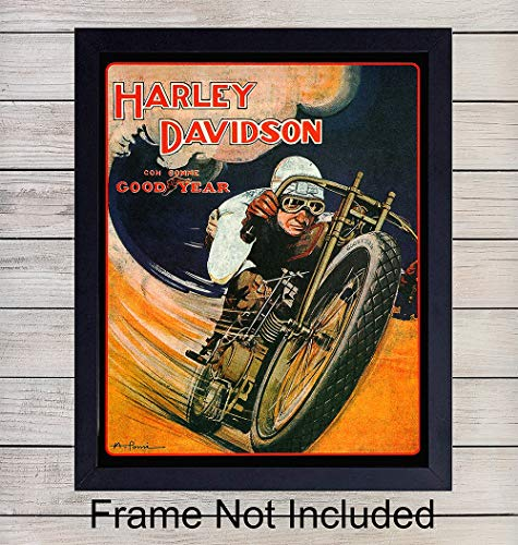 Harley Davidson Poster Wall Art Print - Ready to Frame (8x10) Vintage Photo - Perfect Gift For Motorcycle Enthusiasts - Man Cave Display - Great For Home Decor