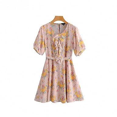 b3e10f2417b Hiuwa Womens Ruffles Floral Chiffon Bow Tie Sashes Short Sleeve Pleated  Mini Dress at Amazon Women s Clothing store