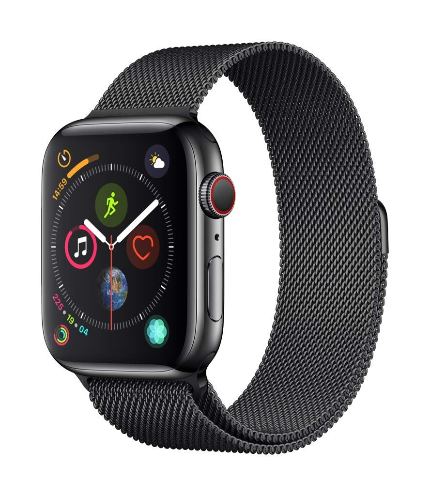 Apple Watch Series 4 (GPS + Cellular, 44mm) - Space Black Stainless Steel Case with Space Black Milanese Loop