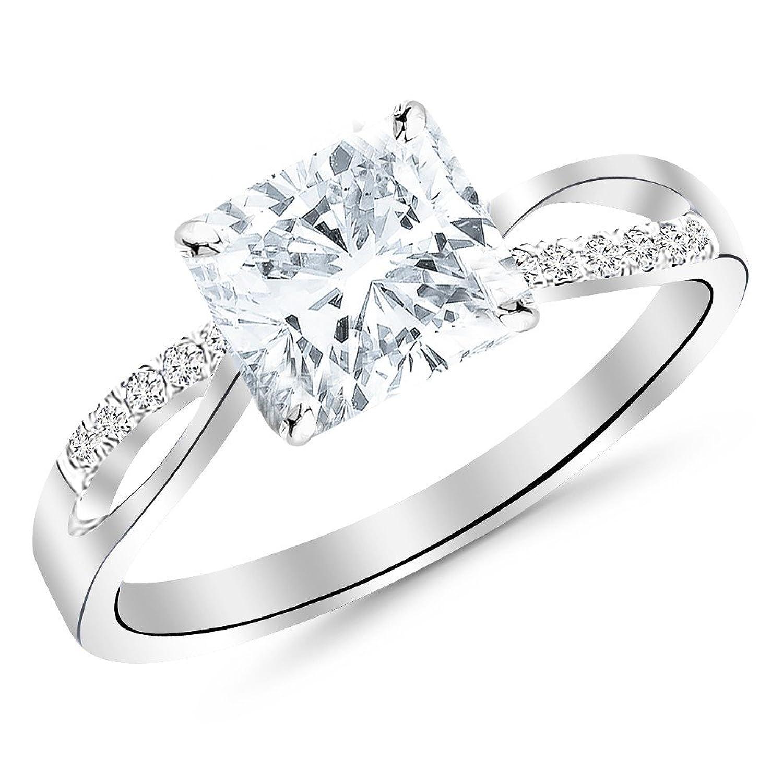 0.61 CTW Elegant Twisting Split Shank Diamond Engagement Ring w/ 0.53 Ct GIA Certified Cushion Cut E Color VS2 Clarity Center