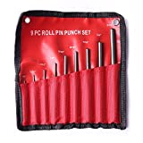 9pcs Round head Pins Punch size 1/16 5/64 3/32 1/8 5/32 3/16 7/32 1/4 5/16 40CR steel Grip Roll Pin Punch Tool Set