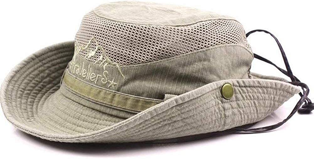 Supreme glory Cotton Sun Hat UV Protection Summer Hats Beach Foldable Fishing Hat with Breathable Mesh and Adjustable Chin Strap Khaki