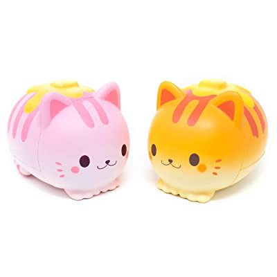 Hamee iBloom Nyan Pancake Slow Rising Squishy Toy (Strawberry & Bread, 5.9 Inch, 2 Pieces Set) [Easter Basket Stuffers, Party Favors for Kids or Stress Relief Toys for Adults]: Toys & Games