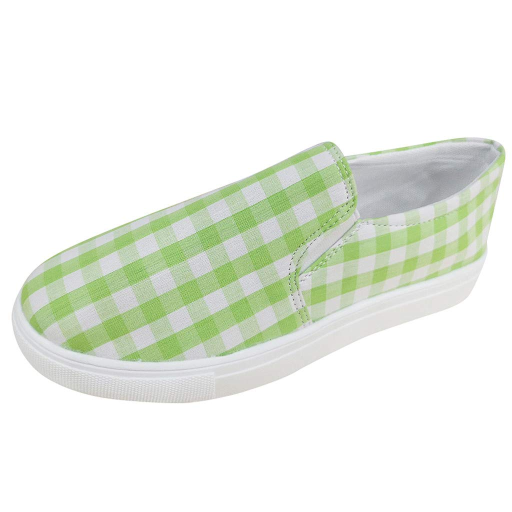 Yiwanjia ◕ˇ∀ˇ◕ Women's Vintage grids Loafers Round Toe Shoes Light Jogging Sneakers Casual Walking Shoes (US:7.5,Green) by Yiwanjia-Shoes