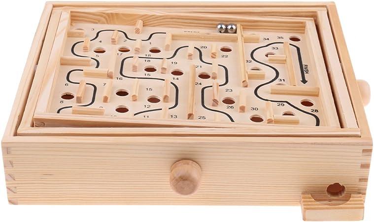 Baoblaze Mesa De Laberinto De Madera Maciza Laberinto / Tabla De Equilibrio Juego De Solitario De Laberinto De Mesa para Niños Y Adultos - Gran Regalo: Amazon.es: Juguetes y juegos