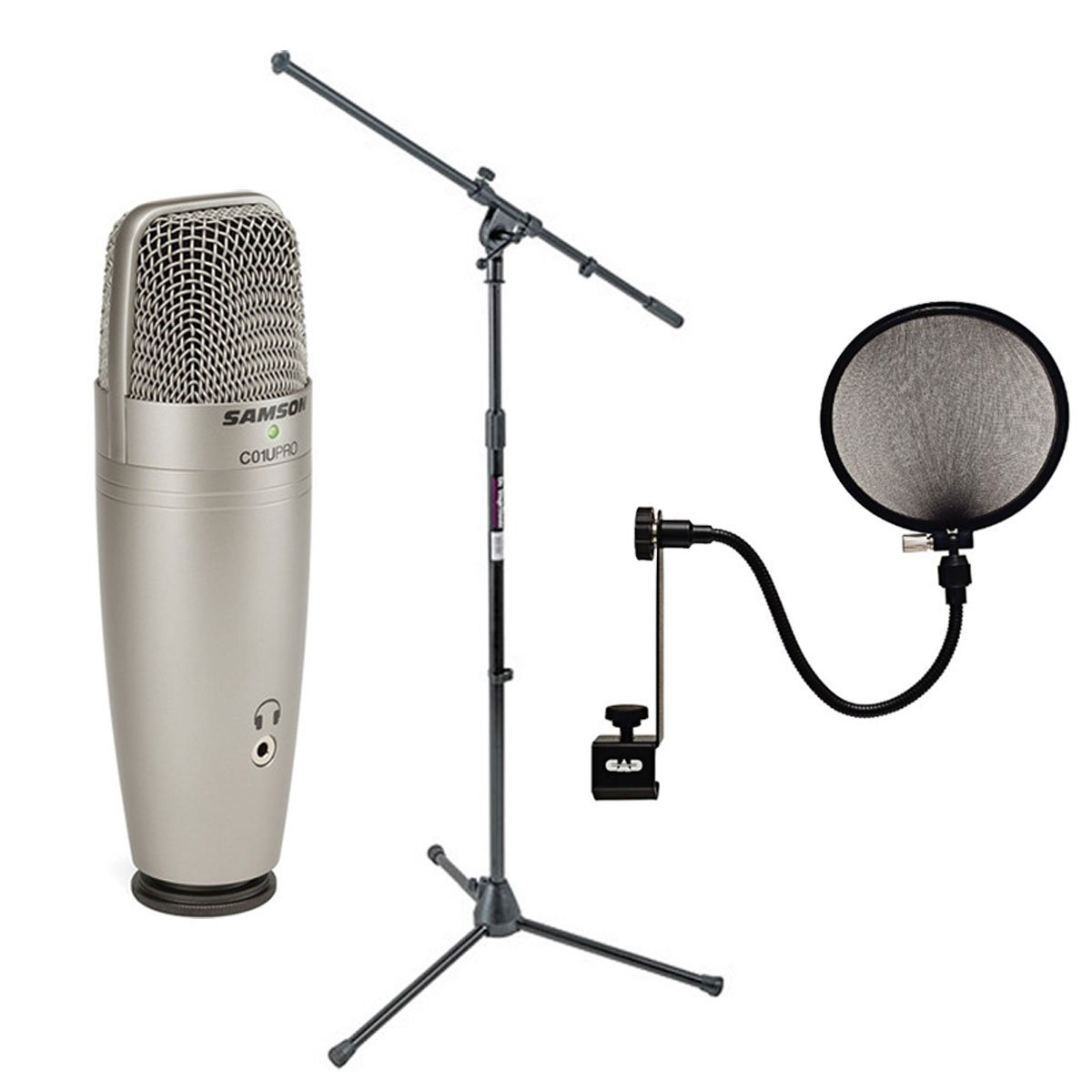 Samson C01U Pro USB Studio Condenser Microphone + On Stage MS7701B Euro Boom Microphone Stand+ 15A Pop Filter on 15-Inch Gooseneck