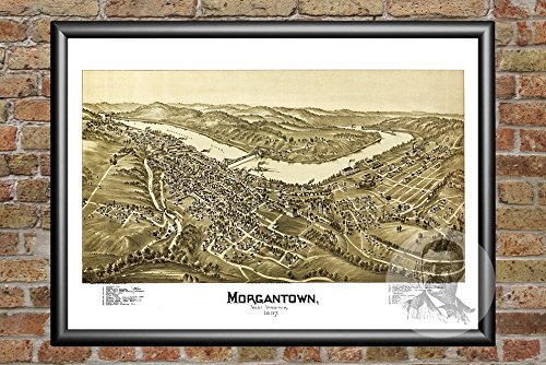"Ted's Vintage Art Morgantown West Virginia 1897 Vintage Map Print | Historic Monongalia County, WV Art | Digitally Restored On Museum Quality Matte Paper 18"" x 24"""