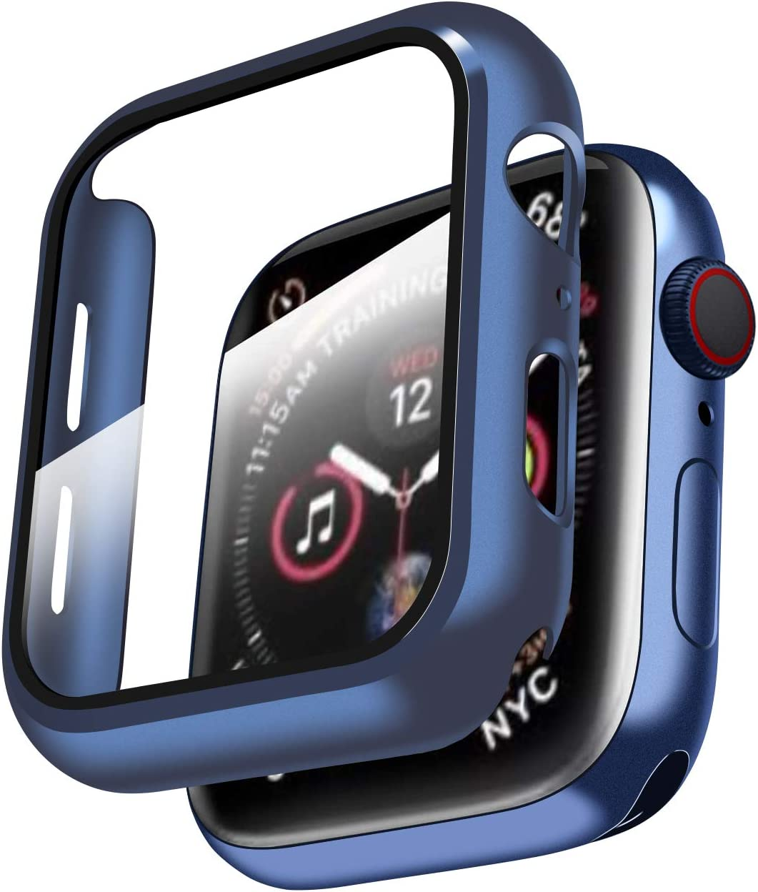 Smiling Case Compatible with Apple Watch Series 6/SE/Series 5/Series 4 44mm with Built in Tempered Glass Screen Protector- All Around Hard PC Case Overall Protective Cover - Blue
