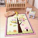 HUAHOO Home Textile,Unique Cartoon Owl Carpet,Designer Pink Fairy Girls Rug For Living Room,Delicate Butterfly Kids Rug