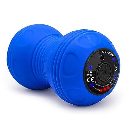 Bola de Masaje Doble Vibrante,LANDWIND Pelota Masaje Terapia Física,Relajación Muscular para Muscular Fitness Pilates Yoga (Azul)