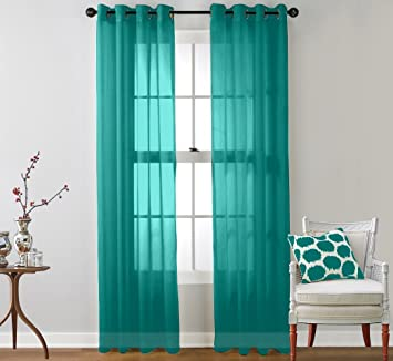 ME 2 Piece Sheer Window Curtain Grommet Panels Aqua Blue Teal