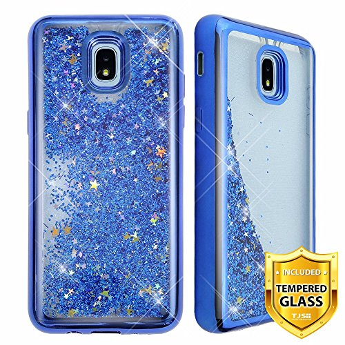 TJS Galaxy J7 2018/J7 Refine/J7 Star/J7 Eon/J7 TOP/J7 Aero/J7 Crown/J7 Aura/J7 V 2nd Gen Case, with [Full Coverage Tempered Glass Screen Protector] Hybrid Chrome Glitter Motion Phone Case (Blue) -
