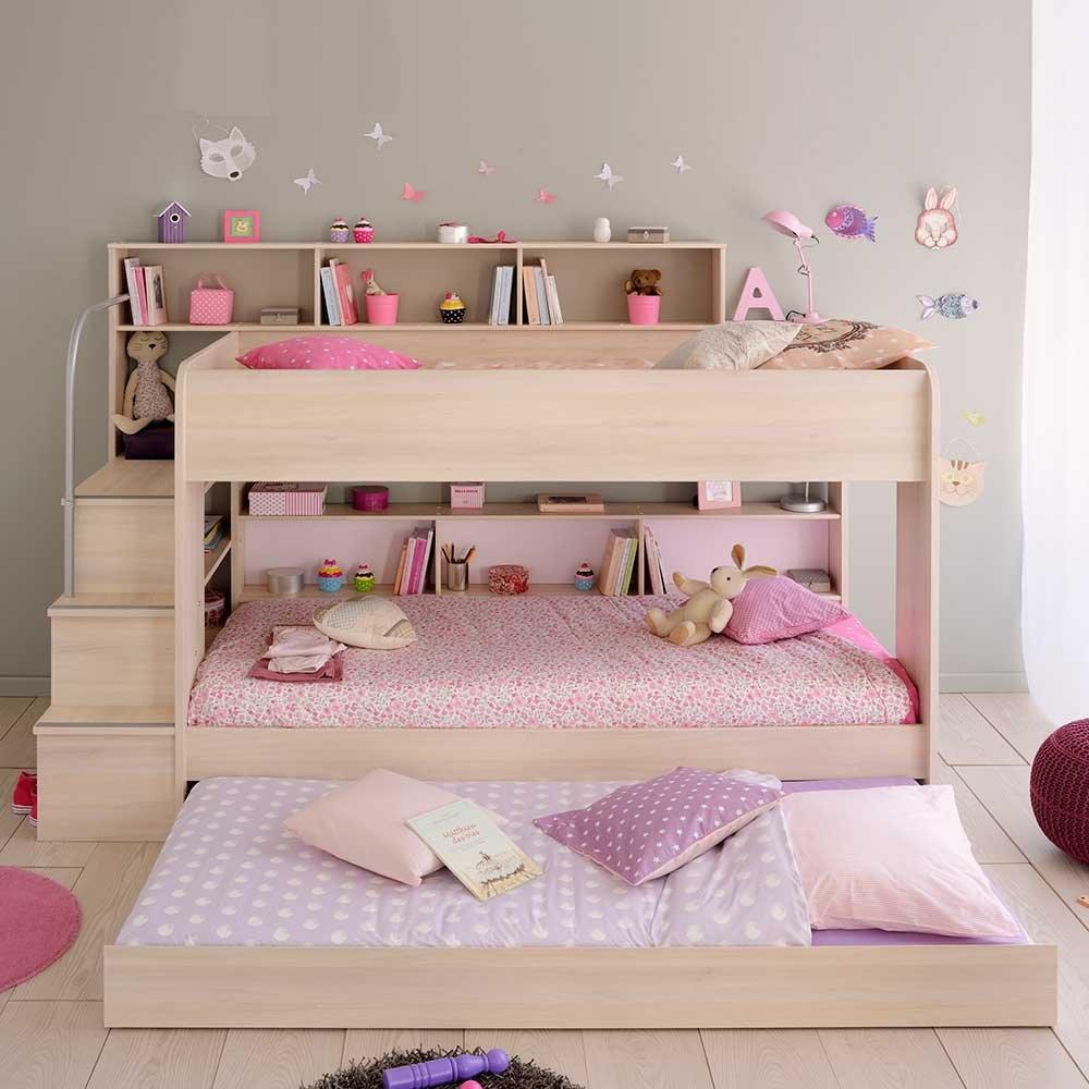Kinderetagenbett mit Treppe Stauraum Bettkasten Ja Pharao24