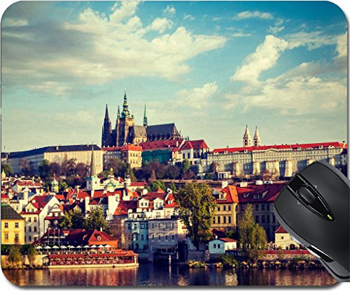MSD Mousepad Mouse Pads/Mat design 29848254 Vintage retro hipster style travel image of Mala Strana and Prague castle over Vltava river Prague Czech - Center St Town Charles