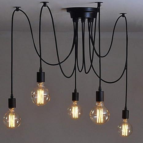 Fünf Köpfe E27 Industrieller Kronleuchter Justierbare Diy Decken Spinnen Helle Hängende Lampe