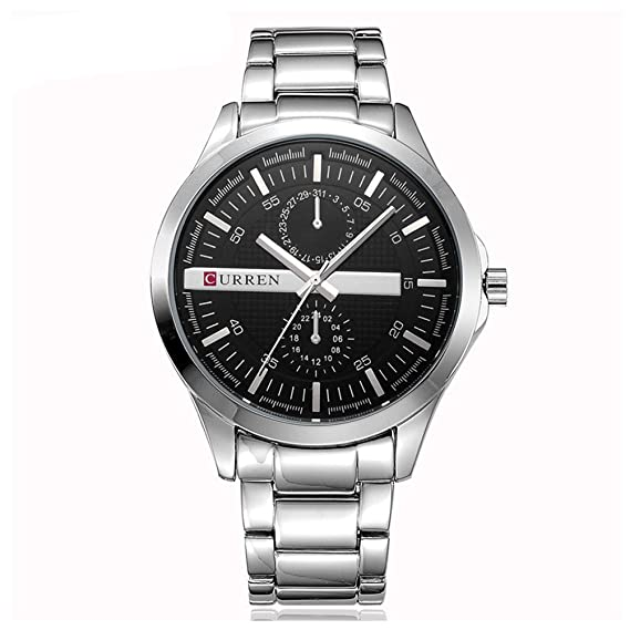 Los relojes militares de plata CURREN relojes de moda los hombres de lujo