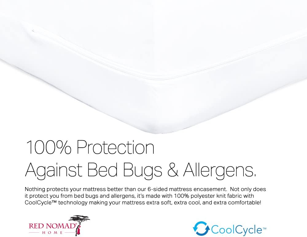 Red Nomad Waterproof Zippered Encasement Medical Grade Bed Bug Proof /& Allergy Reduction Mattress Protector Twin XL Size