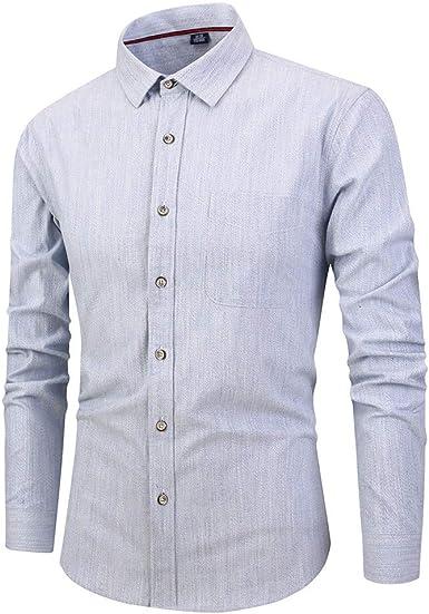 CAOQAO Camisas Hombre Negocio Manga Larga botón Cobertura Cuello ...