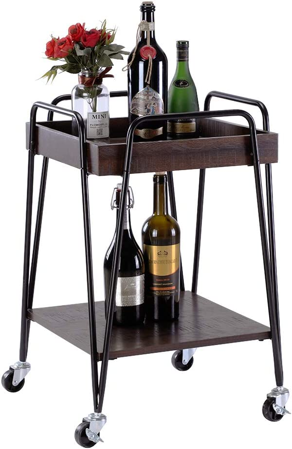 FIVEGIVEN Bar Cart Kitchen Serving Cart with Wheels for Home Rolling Utility Cart Industrial Style, Espresso/Black