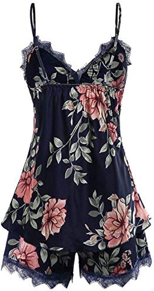 Mini Balabala Camicia da Notte Donna in Raso Serico con Pantaloncini Piagiameria e Rope Profondo V Collare Floreale