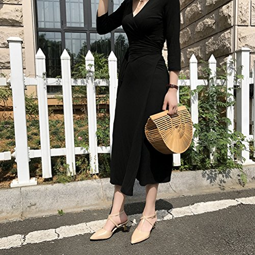 Kaki Sandales Femme Sexy Pointed d'été Talon Sangle Mode Robe Romaine Chaussures Haut Closed Toe Cheville w6R8wF