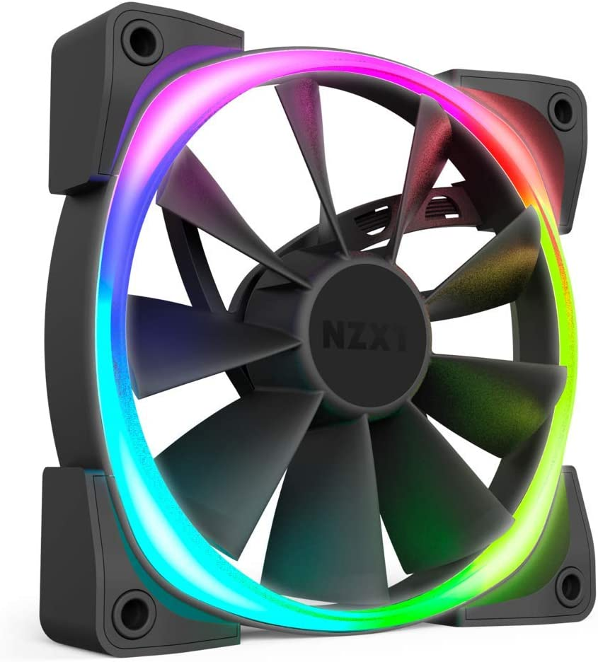 NZXT Aer RGB 2 - 140mm - Advanced Lighting Customizations - Winglet Tips - Fluid Dynamic Bearing - LED RGB PWM Fan for Hue 2 - Single (Hue2 Lighting Controller Not Included)