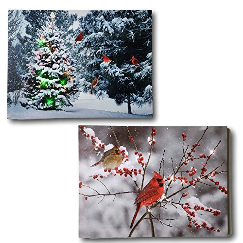 BANBERRY DESIGNS Winter Cardinals Canvas - Set of 2 Lighted Canvas Prints with Wintry Forest Scene with Cardinals - Christmas Wall Art