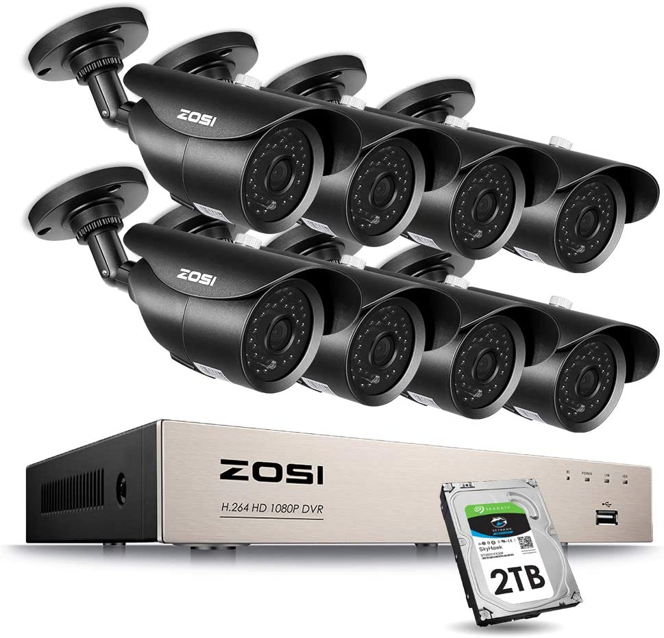 ZOSI 8CH Full 1080p HD-TVI Security Camera System,8 Channel 1080p Surveillance DVR and 8 HD 2.0MP 1080p Weatherproof Bullet CCTV Cameras,42pcs IR LEDs 120ft 40m IR Night Vision 2TB Hard Drive